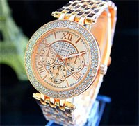 Wholesale Rose Gold Diamond Watch Women - Women's Luxury Diamond Watch Fashion Women Rhinestone Ladies Dress michael Quartz Watches Roman Sliver Rose Gold Wristwatches Wholesale
