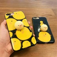 Wholesale Cover Iphone Chick - Tronsnic Soft Phone Case for iPhone 6 6s plus 7 plus Cute Yellow Chicken Toy Anti Pressure Hard Mirror Cover Chick Decompression