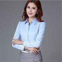 Wholesale Womens Career Shirt Xl - free shipping high quality Korean Slim was thin Imitation Tencel lapel temperament career Shirt Long sleeve shirt Womens shirts