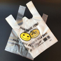 Wholesale Shopping Plastic Carrier Bag - Portable 100pcs lot Smiling Face Supermarket Yellow Lovely Vest Plastic Carrier Shopping Hand Bag Packaging Bags New Fashion Bag