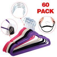 Wholesale Slipping Pants - 60PCS Non Slip Velvet Clothes Suit Shirt Pants Hangers White, Black, Purple,Red