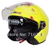 Wholesale Ls2 Helmets Yellow - Free shipping New LS2 OF578 Twin Shield color(yellow) Motorcycle Retro Helmet Genuine ABS material support wholesale