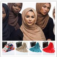 islamische hüte großhandel-56 Farben Islamische Hijab Cap Islamische Kopfabnutzung Hut Einfarbig Full Coverag Muslimischen Schal Pashmina Unterscarf Baumwolle Kopftuch