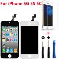 iphone 5s siyah cam toptan satış-iPhone 5 LCD Sayısallaştırıcı Değiştirme Dokunmatik Ekran Tam Meclisi iPhone 5 s iPhone 5 s ile Tamir Kiti Temperli Cam ile iPhone 5c Beyaz Siyah