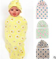 Wholesale Polka Dot Baby Blanket - Infant blankets baby boys girls swaddle hat 2pc sets newborn floral printed pattern muslin blanket babies polka dots sleeping bag T0451