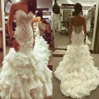 Wholesale Sexy Crystal Wedding Mermaid Satin - Mermaid Tiered Crystal Wedding Dresses Lace Appliqued Sweet Heart Neck Backless Bridal Gowns White Sweep Train Beaded Wedding Dress