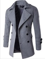 Wholesale Fashion Brand Male Solid Color Jackets Coat Casual Slim Fit Double Breasted Outwear Men s Trench Coat
