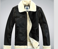 Wholesale Mens Leather Jacket Real Fur - Mens winter genuine leather coat real fur parka Fleece Jacket trench jacket coat warm 2Colors Luxury New YL2554