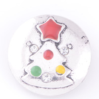 Wholesale Deer Silver Alloy Charms - Mix design 18mm zinc alloy Noosa chunk ginger snap jewelry Christmas series tree deer snap buttons