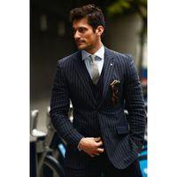 colete moderno venda por atacado-Custom Made Listra Preta Dos Homens Terno Padrão Clássico Skinny Prom Tuxedo Simples Moderno Blazer Ternos De Casamento (Jaqueta + Calça + Colete) G574