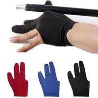 Wholesale cue accessories - Wholesale- Spandex Snooker Billiard Cue Glove Pool Left Hand Open Three Finger Accessory