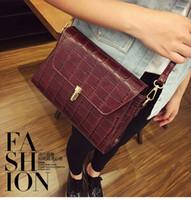 Wholesale Hard Leather Pouch Patterns - Women handbags famous brands women messenger bags Womens pouch pattern crocodile fashion PU leather handbag ladies bags