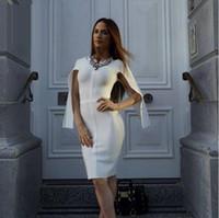 Wholesale Xs Mini Club Dresses - 2016 wholesale solid white color long sleeve open bodycon elegant luxury noble celebrity party prom fashion HL bandage dresses