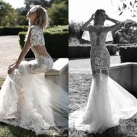 Wholesale Wedding Dresses Embellished Back - Sexy See Through 2016 Wedding Dresses Embellished Illusion Lace Applique Jewel Neck Mermaid Long Beach Bridal Gowns Summer Fast Shipping