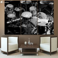 Wholesale Drum Music Instruments - HD Printed 3 Piece Canvas Art Music Instrument Painting Black White Drums Wall Pictures for Living Room Free Shipping NY-7021B
