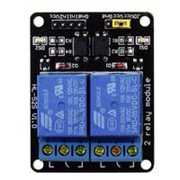 module de relais arduino achat en gros de-5V 2 Channel Shield Module Module avec Optocoupleur Pour Arduino ARM PIC PLC AVR DSP MCU SCM Singlechip Électronique