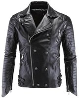 Wholesale Mens Punk Leather Jacket - Leather Jacket Men Turn-down Collar Jaqueta De Couro Masculina PU Mens Leather Jackets Skull Punk Veste Cuir Homme