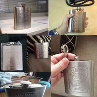 şişe kutuları toptan satış-7 oz Paslanmaz Çelik Hip Flask Kutusu Ile Viski Dürüst Flask Şişe Kupa Wisky Jerry Seyahat Şarap Şişesi Bardağı HH7-70