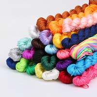 Wholesale 1mm Rattail Cord Wholesale - Hot Sale 30 Colors Nylon Cord Thread Chinese Knot Macrame Rattail 1mm*24M Shamballa Rope For DIY Bracelet Braided
