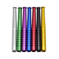 tip borular toptan satış-MINI 55mm Moda Küçük Metal Sigara Borular Beyzbol Sopası Düz Tip Metal Borular Sigara Ücretsiz Kargo