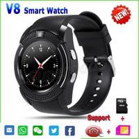 gsm control remoto tarjeta sim al por mayor-Rápido DHL Smartwatch V8 HD Pantalla táctil 2G GSM para iOS Android Teléfono portátil Reloj con ranura para tarjeta SIM TF Control remoto Bluetooth