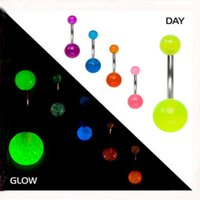 Wholesale Glowing Belly Button Rings - Acrylic Belly Ring Piercing Uv Glow In The Dark Navel Button Ring 2016 Trendy Fashion Women Body Jewelry 50pcs lot