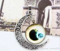 ingrosso collana di pendente della mezza luna-Girocollo Collana Starry Outer Space Universe Gemstone Silver Chain Moon Collane Pendant Galaxy Half Glass Moon Necklace