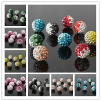 Wholesale Silver Tone Metal Charms Wholesale - 2-Tone Gradient Shamballa Disco Beads Clay Pave Crystal Rhinestone All Sizes All Colors Charms Statement Jewelry Making Supplies