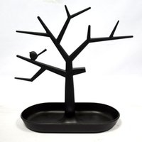 ingrosso albero del supporto dell'esposizione dei monili-2 pezzi nero orecchini collana anello uccello albero stand display organizer holder