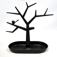 Wholesale Ring Holder Tree - 2 PCS Black Jewelry Necklace Ring Earrings Bird Tree Stand Display Organizer Holder