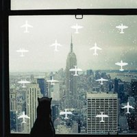 Wholesale Removable Stickers Aircraft - Green waterproof matte vinyl wall stickers aircraft carved glass windows frosted white Cafe new 2016 European and American fashion