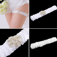 Wholesale ribbon garters resale online - Elegant Elastic Bridal Accessory Satin Plicated Whit Garter Silk Ribbon Bright Strass Flowersl Wedding Decoration Garter