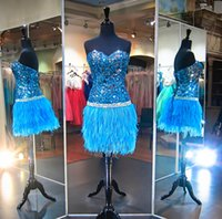Wholesale Turquoise Cocktail Homecoming Dresses - Sparkly Turquoise Sequin Feather Short Prom Dress Strapless Beaded Backless 2016 Mini Homecoming Cocktail Party Bling Sweet 16 Dresses