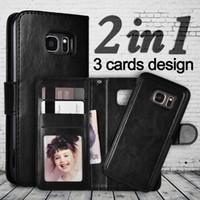porta tarjetas galaxy s7 al por mayor-Para Galaxy Note 9 S8 S9 S7 2in1 Funda extraíble desmontable magnética Funda de cuero Cubierta de la tarjeta Titular para iPhone XS MAX X 7