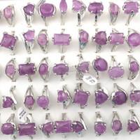 anéis de gemas naturais venda por atacado-Ametista Natural Pedra Anéis de Pedras Preciosas Jóias Anel Bague das Mulheres 50 pcs Presente Do Dia Dos Namorados