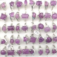 Wholesale Amethyst Gemstone Jewelry - Natural Amethyst Stone Rings Gemstone Jewelry Women's Ring Bague 50pcs Valentine's Day Gift