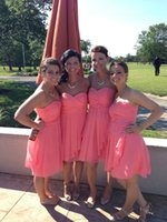Wholesale Bridesmaid Dress 26 - 2016 Knee Length Short Bridesmaid Dress Water Melon Chiffon A Line Formal Wedding Party Gown Custom Made 2 4 6 8 10 12 14 16 18 20 22 24 26