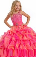 vestido naranja de organza al por mayor-Vestidos de desfile de niña de organza fucsia naranja Con cuentas blusa Vestido de bola Princesa Vestidos de niña de flores con falda de organza con volantes