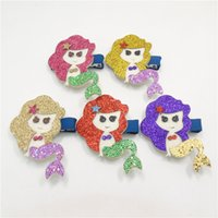 polyester blonde hair girls - 20pcs Pretty Mermaid Hair Clip Beauty Princess Baby Barrette Glitter Blonde Girl Toddler Hairpin Novelty Cartoon Girl Hair Pinch Grips
