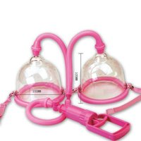 Wholesale small plastic gears - Plastic Manual Vacuum Breast Pump Sucker Bondage Torture Gear with Dual 10cm Cups Physical Breast Stimulation Massager Beauty Supply