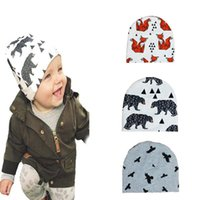 Wholesale Panda Bear Patterns - 5pcs Fox Panda Tiger Bear Birds Newborn Hats Beanies Caps Cartoon Batman Cross Pattern Baby Cap & Hat For Boys Girls Kids Accessories