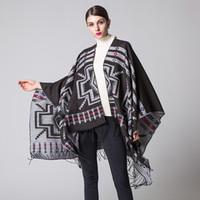 Wholesale Cashmere Ponchos Sale - Hot Sale Women's Bohemian Shawl Wraps Winter Warm Blanket Scarf Fashion Cashmere Ethnic Style Open Front Travel Poncho Cape