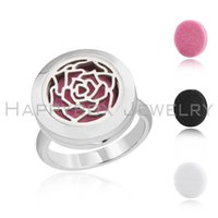 Wholesale Wholesale Ring Lockets - 20mm Stainless Steel Essential Oil Diffuser locket locket Ring Perfume Aromatherapy Ring rose flower ring women