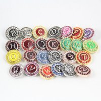 Hot Colorful Metal Chunks Snap Button Charm Rhinestone Crystal rivca Snaps Jewelry NOOSA Chunk DIY Jewelry 20MM Letras iniciales de la A a la Z