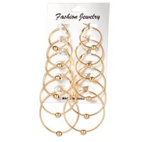 Wholesale Round Clip Earrings - Design Creole Hoop Earrings Vintage Gold Color Big Circle Earrings Women Exaggerated Ear Clip Jewelry Accessories Simple Round Earrings 6Pic