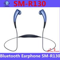 Wholesale Cheap Earphones Volume Control - 2015 Cheap Wireless Bluetooth Headset Stereo Sports Headphones Neckband Volume Control Magnetic Sensor Earphones SM-R130 DHL