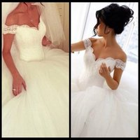 Wholesale Simple Elegant Cheap Ball Gowns - Vestido De Noiva Ball Gown Lace Long Elegant Sexy Cheap White Court Train Wedding Dresses Dress 2016