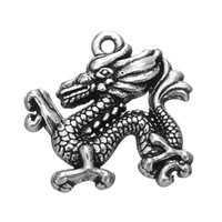 Wholesale Chinese Dragon Necklace Wholesale - My Shape Zinc Alloy Antique Silver Plated Chinese Traditional Dragon Symbol Charms Wholesale Pendant for Necklaces