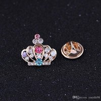 Wholesale Steel Female Locked Collar - Free postage 2016 new upscale small crown Korean small collar shirt collar pin female collar clip brooch crystal brooch pin scarf buckle