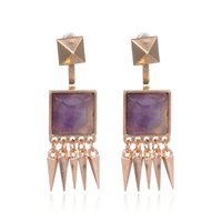 Wholesale Fashion Earrings India - Punk Style Faux Square Stone Earing Gold Plated Drop Long Earrings For Women Fashion Rock Jewelry From India